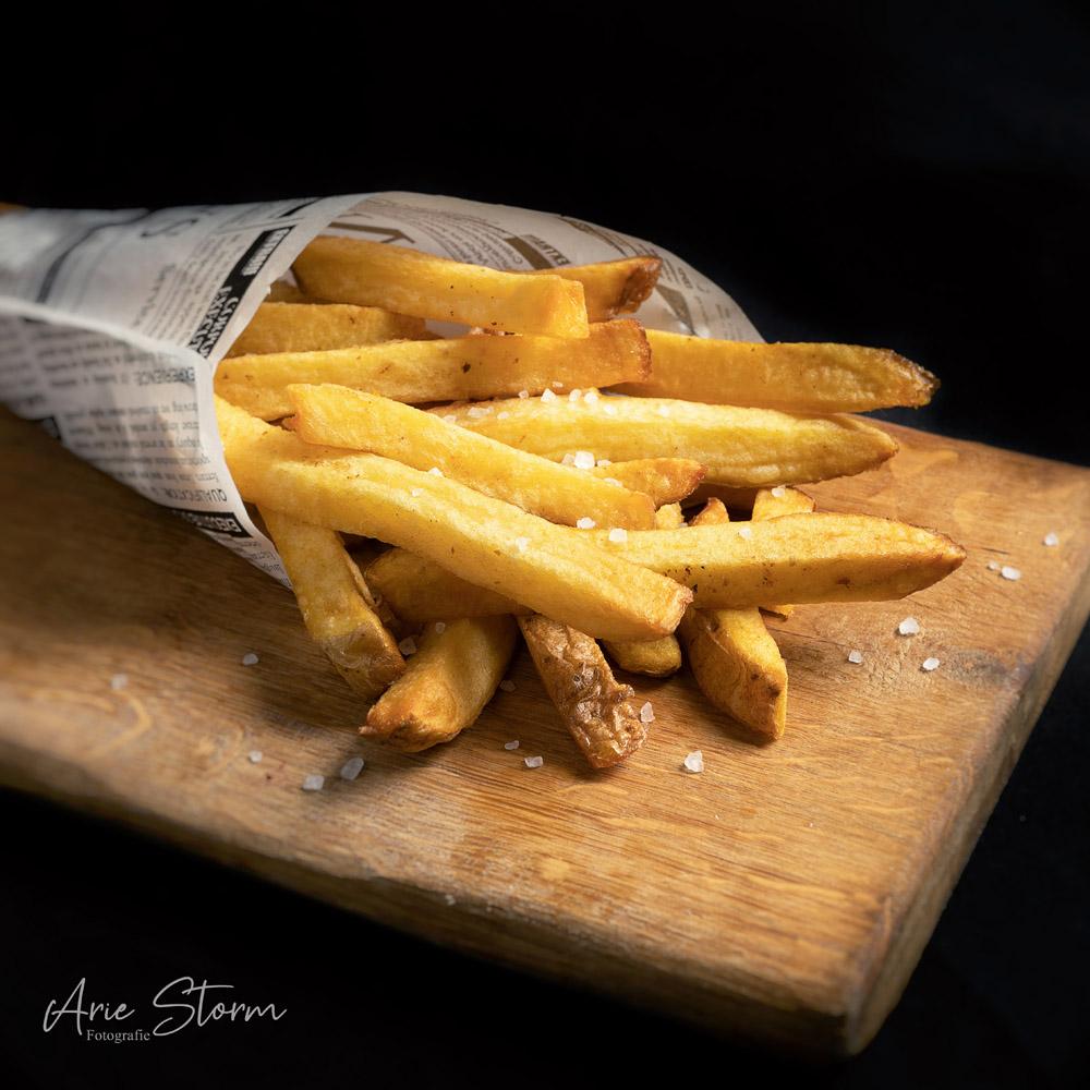 Verse friet in puntzak met grof zeezout
